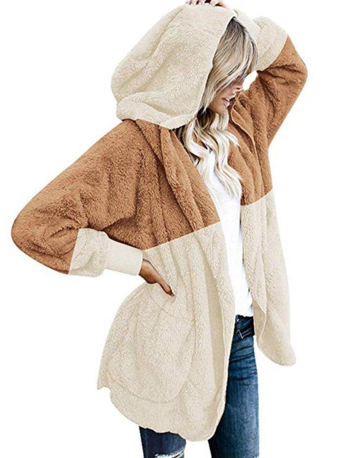 Fleece Fur Hooded Fluffy Coat