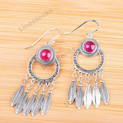 Thai Silver Leaf Tassel Earrings for Women Real 925 Silver Earrings