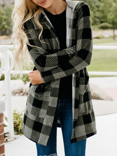 Gingham Casual Buttoned Women's Boyfriend Cardigans With Hoodie