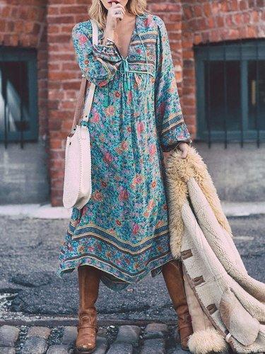 V Neck 3/4 Sleeve Elegant Asymmetrical Vintage Dress