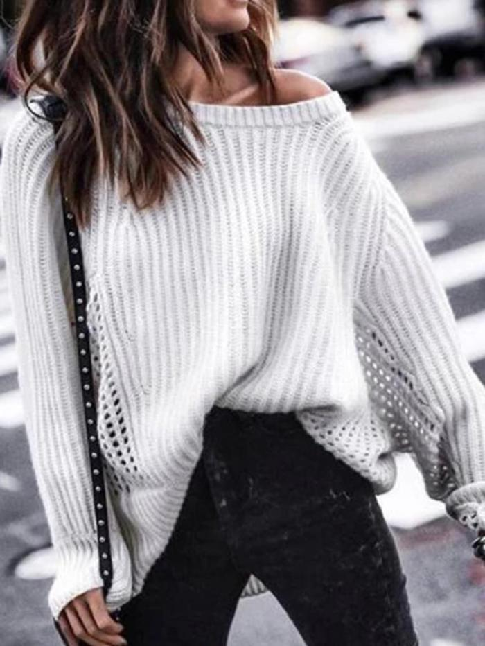 Casual Single Off Shoulder Collar Solid Color Cutout Sweater