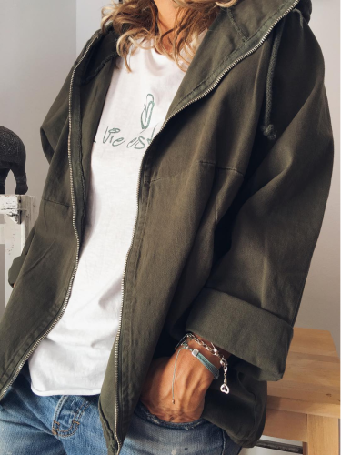 Cotton-Blend Solid Long Sleeve Outerwear