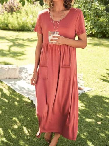 Pink Shift Casual Plain Dresses