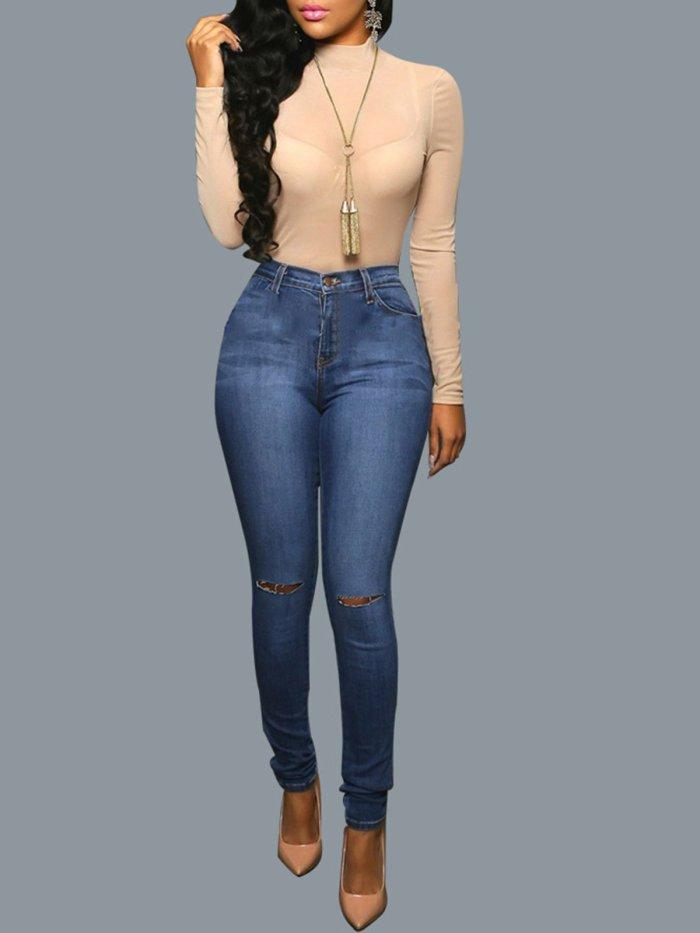 Deep Blue Hole Pocket Jeans