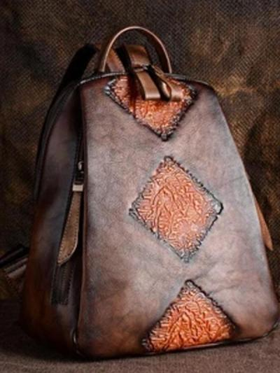 Leather vintage ethnic backpack