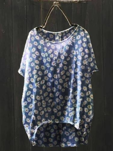 Blue Short Sleeve Floral Linen Vintage Shirts & Tops