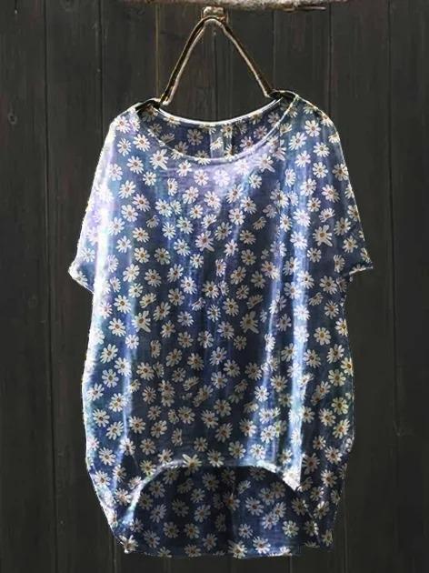 Blue Short Sleeve Floral Linen Vintage Shirts & Tops