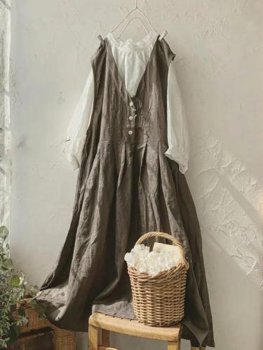 Coffee V Neck Linen Sleeveless Plain Dresses