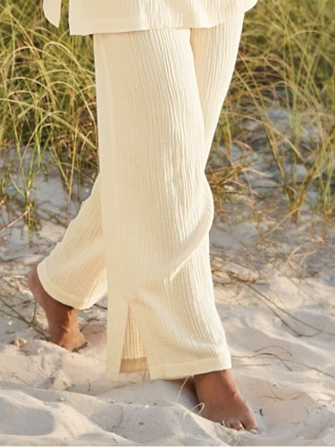 Cotton Plain Casual Pants