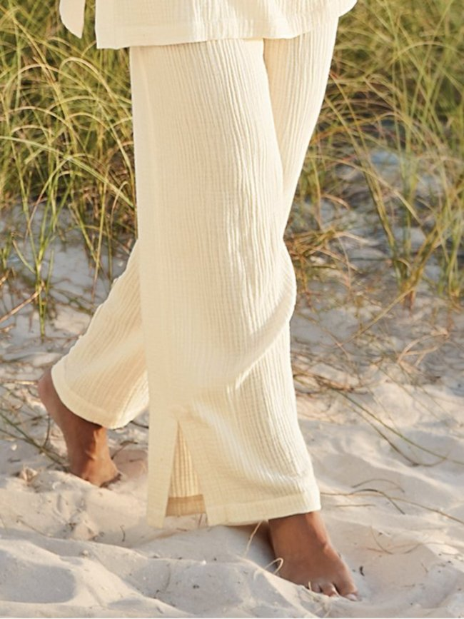 Cotton Plain Casual Pants