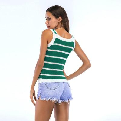 Casual Striped Knit Shoulder Strap Crew Neck Sleeveless Contrast Color Tops