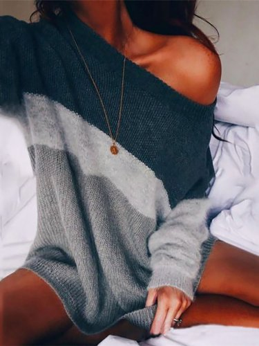 Paneled Striped Long Sleeve Crew Neck Sweater