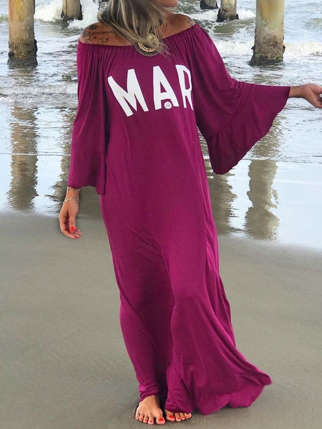 Bohemian cotton casual loose letter dress
