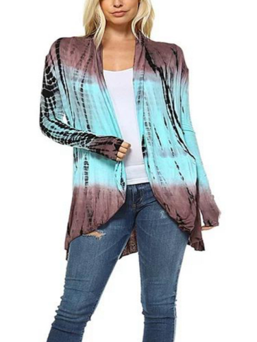 Floral Cotton V Neck Long Sleeve Printed Coat