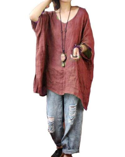 Long Sleeve Linen Casual Casual Tops