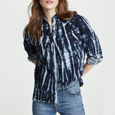 Blue Floral V Neck Casual Shirts & Tops