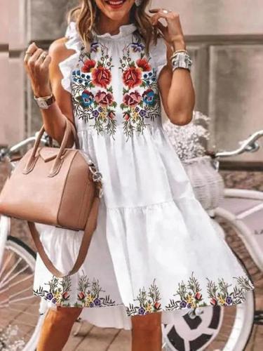 Floral Printed Casual Sleeveless Ruffled Midi Dress