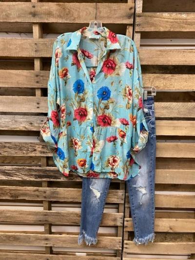 Romantic Floral Floral-Print Shift Shirts