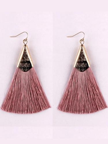 Vintage Boho Silk Tassel Fish Hook Drop Earrings