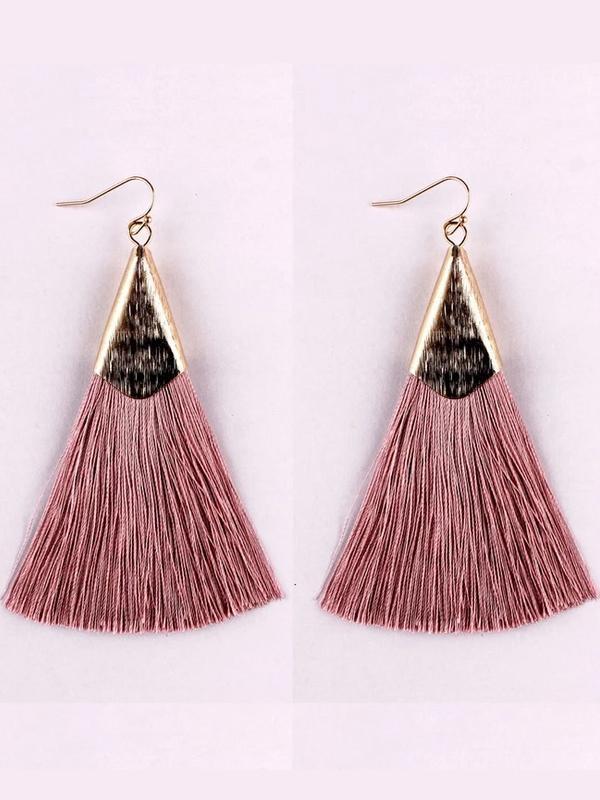Vintage Boho Silk Tassel Fish Hook Drop Earrings