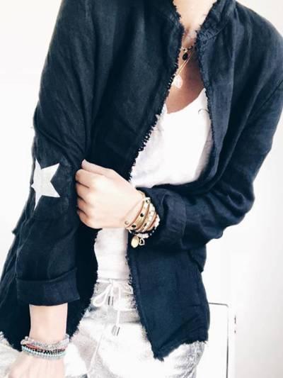 Black Casual Plain Outerwear