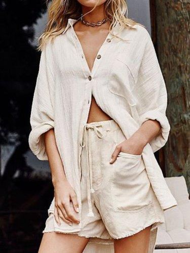 Beige Cotton-Blend Long Sleeve Stand Collar Shirts & Tops