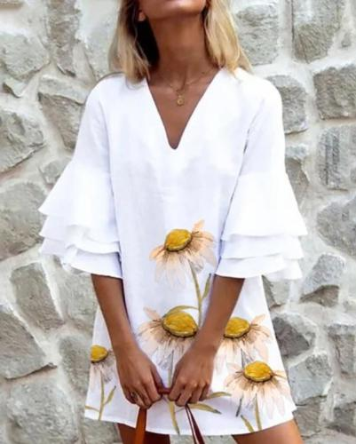 Summer Chiffon Dress 2020 Boho Style Beach Dress Fashion Short Sleeve V-neck Print A-line Party Dress Sundress