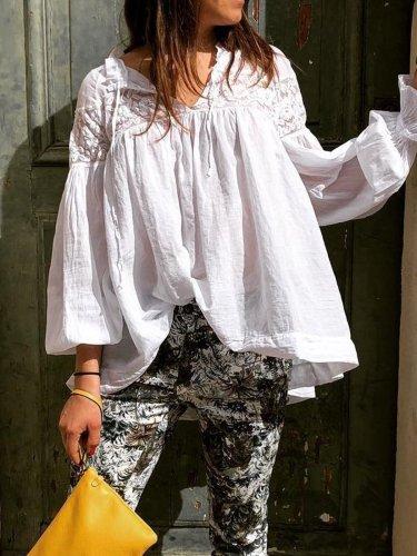 Cotton Plus size solid loose shirt