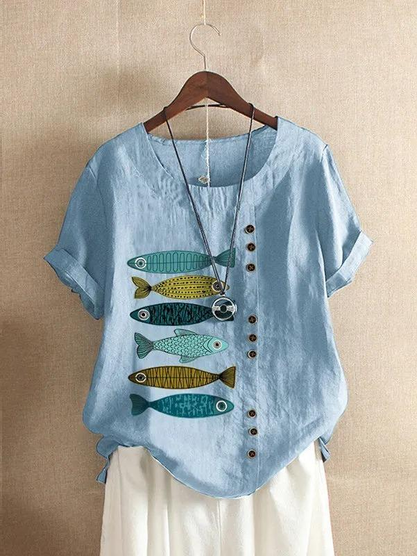 Short Sleeve Crew Neck Fish Print Shirts & Tops