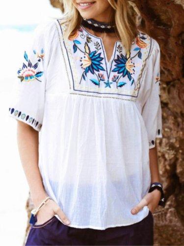 Floral Cotton Vintage Shirts & Tops