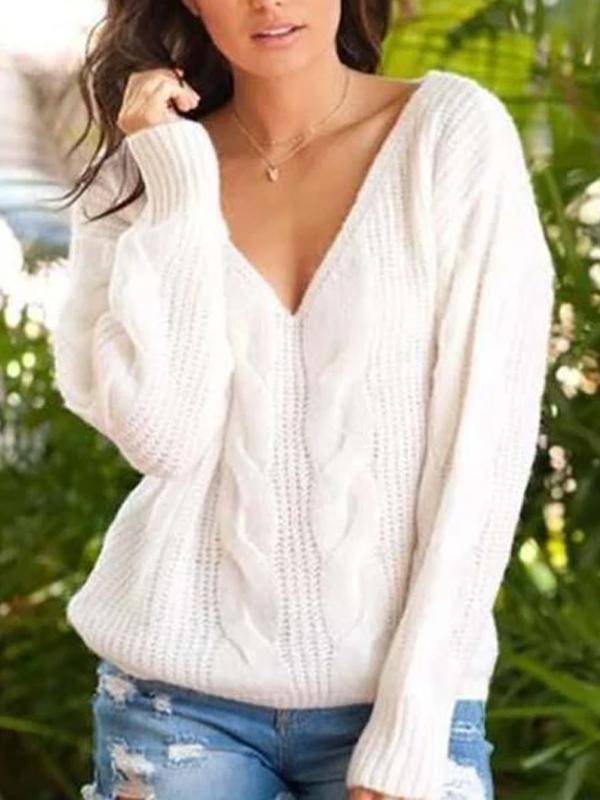 Twisted V-Neck Sweater Pullover Sweater