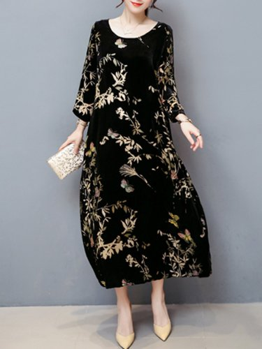 Women Casual Velvet Pockets Plus Size Printed Dress