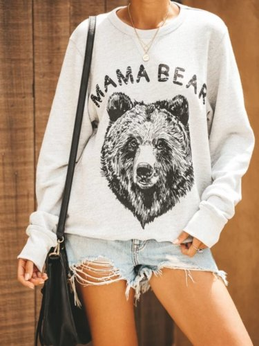White Cotton-Blend Printed Animal Long Sleeve Shirts & Tops