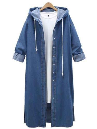 Casual Hoodie Denim Buttoned Coat