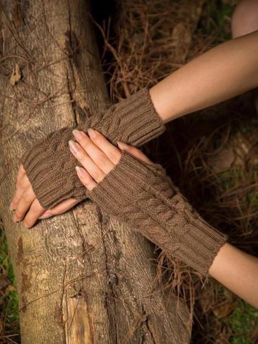 Warmer Solid Color Half-finger Wrist Gloves Accessories