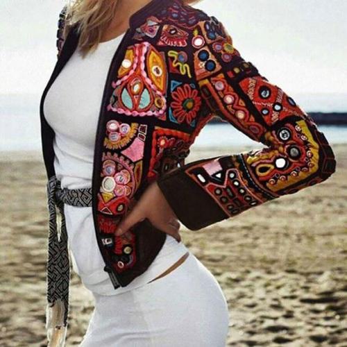 Women Bhemian Tachibana Long Sleeve Printed Blazer