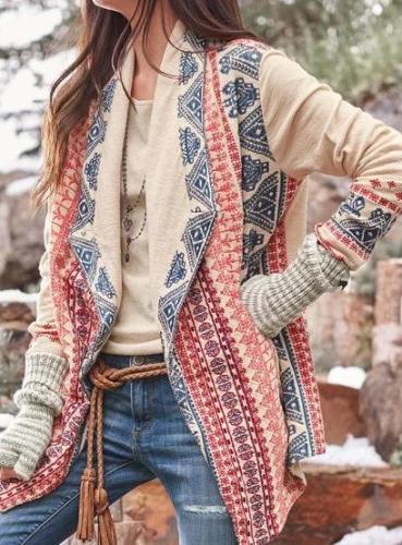 Casual Shawl Collar Floral-Print Cardigan