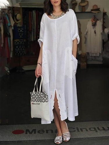 White Half Sleeve Slit Casual Dress