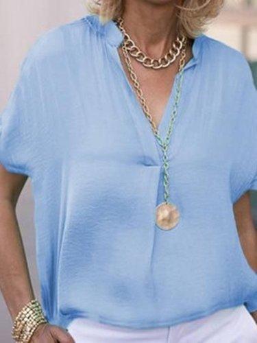 Blue Short Sleeve Linen Shift Shirts & Tops