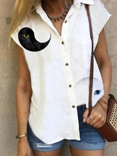 White V Neck Short Sleeve Printed Shirts & Tops