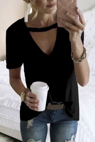 V-neck Short Sleeves Solid T-shirt
