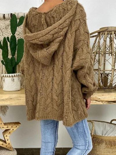 Fashion Casual Autumn And Winter Solid Color Knit Hooded Sweater