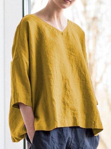 Women Casual Tops V Neck Asymmetrical Long Sleeve Cotton Shirts