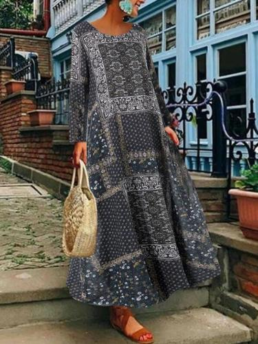 Crew Neck Women Linen Printed Maxi Dresses