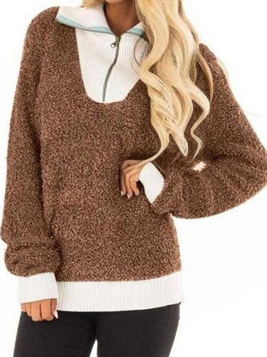 Paneled Long Sleeve Cashmere Sweaters