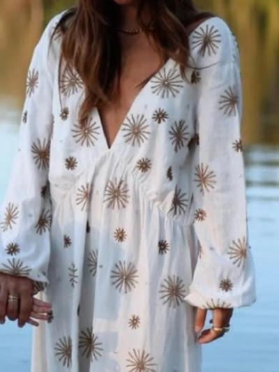 White Casual Printed Dresses
