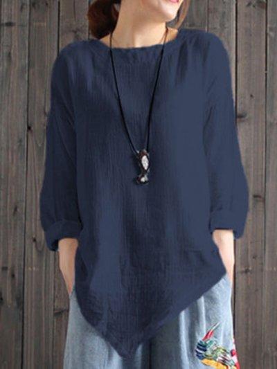 Women Cotton Crew Neck Casual Blouses Shirt