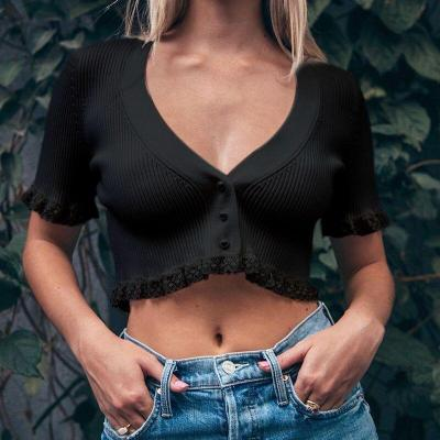 Sexy Short Sleeve V-Neck Fashion Streetwear Lace Crop Tops T Shirt