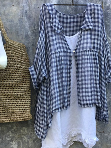 Checkered Buttoned Casual Shirts & Tops