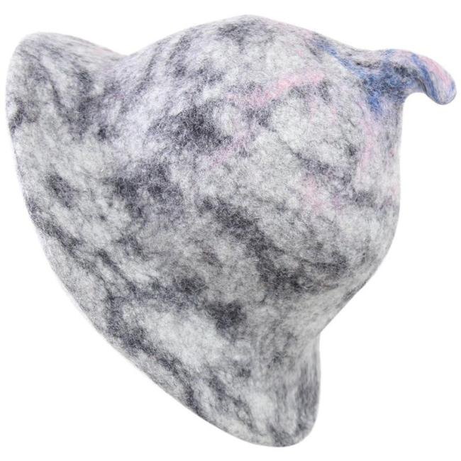 Nepal Hand-made Wool Felt Grey Round Small Pointed Tie-dyed Cap